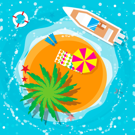 wave tourist: Summer vacation, time to travel, beach rest: sun, sea, waves, sand,  umbrella, towel, flippers, starfish, lifebuoy. Vector flat background and objects illustrations