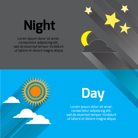 long night: Day and night with sun, stars and moon with long shadows. vector illustration