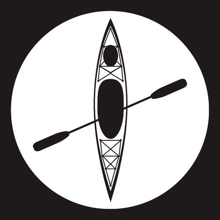 Kayak e pagaia icona quadrata. Illustrazione vettoriale di attività all'aperto elementi - kayak e canottaggio remo. Kayak isolato, kayak da mare