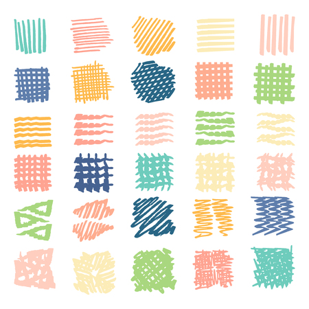 Hand Drawn textures .Different shapes scribble, line, spot, drop, Vector illustration. Isolated. Vettoriali