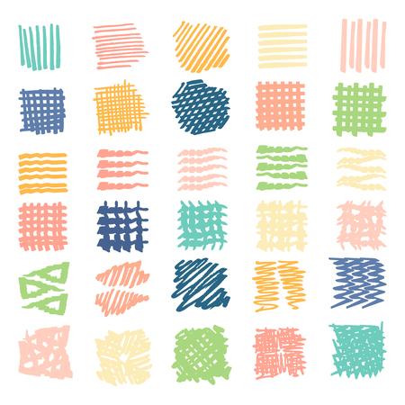 Textures dessinées à la main. Formes différentes garnies, lignes, taches, gouttes, illustration vectorielle. Isolé. Banque d'images - 46271758