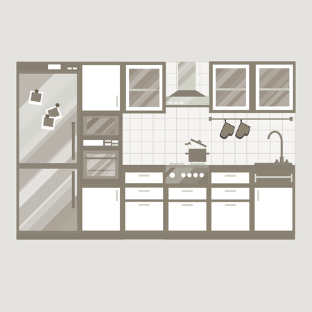 cupboards: Kitchen interior design. Home furniture. Set of elements: stove, oven, microwave, cupboards, dishes, tap. Vector illustration