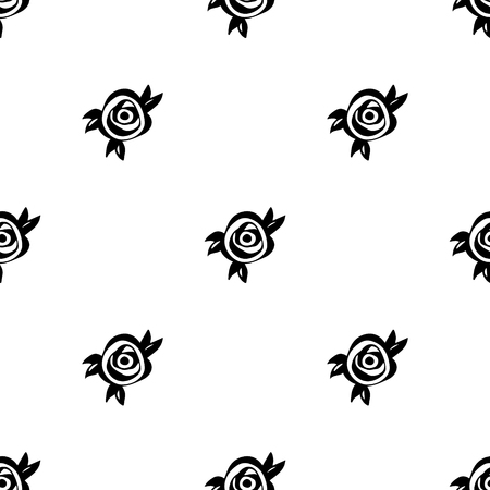 black roses: Floral abstract pattern with black roses and leaves. Vector seamless background