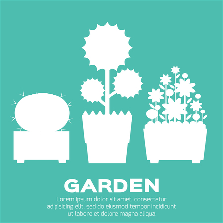 indoor bud: Set of garden silhouettes elements - tree,cactus, flowerbed, flowers in flat style. Spring and summer.