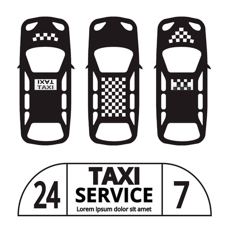 car driver: Top view Taxi cab symbol and sign. Public transport. Vector illustration