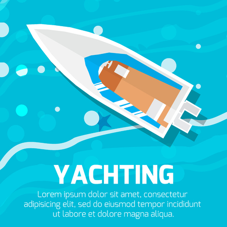 motor yacht: Water transport – top view motor yacht. Vector illustration.