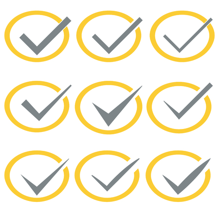 confirmacion: Set of nine different vector check marks or ticks in circles conceptual of confirmation acceptance positive passed voting agreement true or completion of tasks on a list