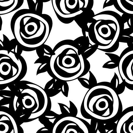 rosas negras: Resumen patr�n floral con rosas y las hojas negras. Vector de fondo sin fisuras Vectores