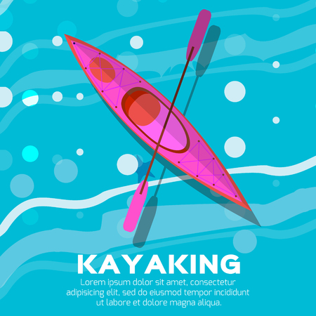 kayak: Kayak and paddle. Vector illustration of Outdoor activities elements - kayak and rowing oar. Kayak isolated, sea kayak