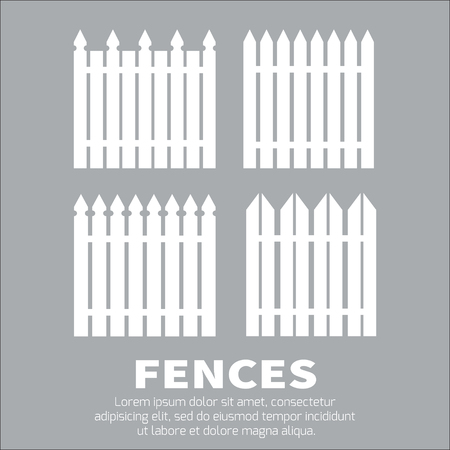 fence post: Vector set of white rural fences silhouettes. Garden Park Yard elements.