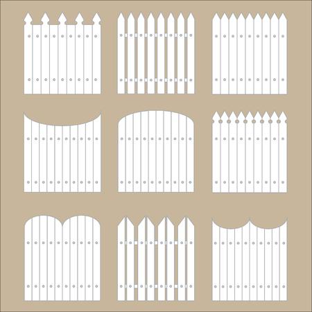 rail yard: Vector set of white rural fences silhouettes. Garden Park Yard elements.