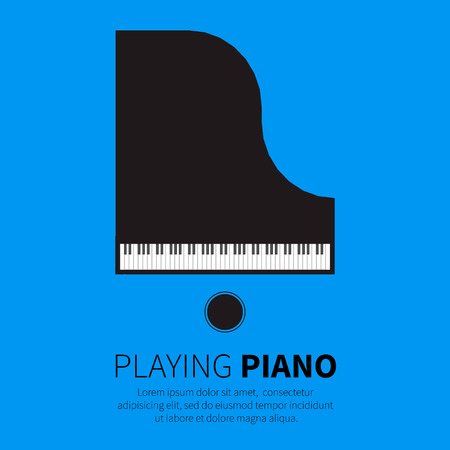 teclado de piano: Piano de cola y una silla. Instrumento musical. Ilustración vectorial