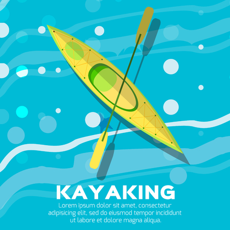 rowing: Kayak and paddle. Vector illustration of Outdoor activities elements - kayak and rowing oar. Kayak isolated, sea kayak