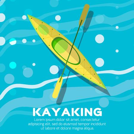 ocean kayak: Kayak y paddle. Ilustraci�n vectorial de Actividades al aire libre elementos - kayak y remo remo. Aislado Kayak, kayak de mar Vectores