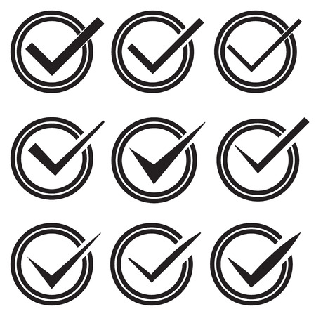 Set Of Nine Different Vector Check Marks Or Ticks In Circles