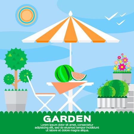 saubere luft: flat style. Garden landscape – summer picnic. Ecology clean air. Illustration
