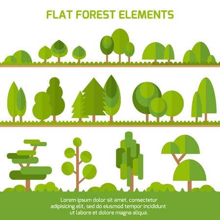 bush: Trendy Set of different trees, bushes , grass and other natural objects. Sprites for the game. Vector flat illustration