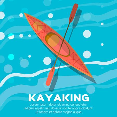 oar: Kayak and paddle. Vector illustration of Outdoor activities elements - kayak and rowing oar. Kayak isolated, sea kayak