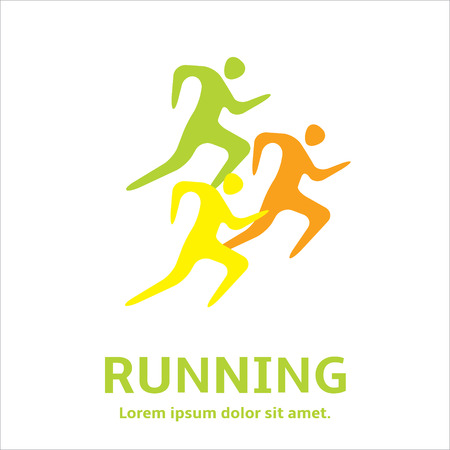 sprint: Running man, people  - silhouette  icon.  Let's Run. Simple symbol of run. Marathon, sprint. Vector Illustration. Illustration