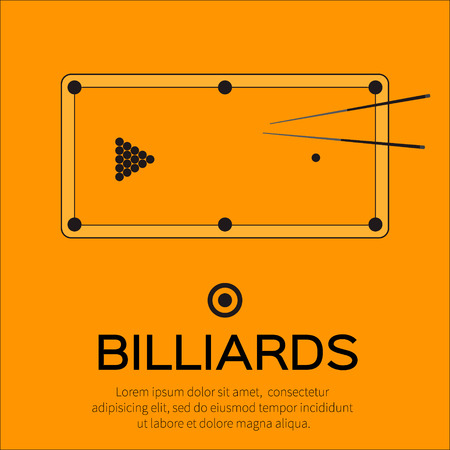 game of pool: Billiards, pool, snooker game. Balls triangle, cue on table – Vector illustration.