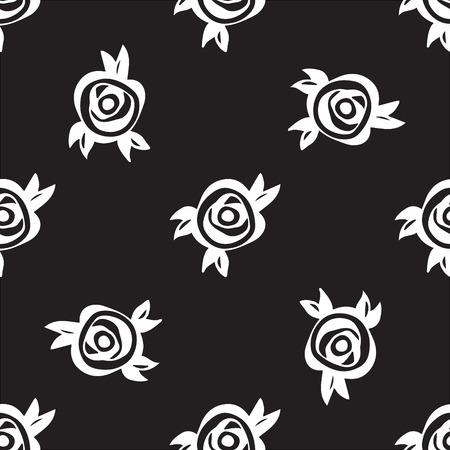 rosas negras: Floral abstract pattern with black roses and leaves. Vector seamless background