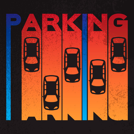 parking lot: Colorful design style of signature – parking- on textured background. Top View Parking lot design Simple bright symbol - car. Many cars parked Template for your print or design on black background. Vector flat illustration
