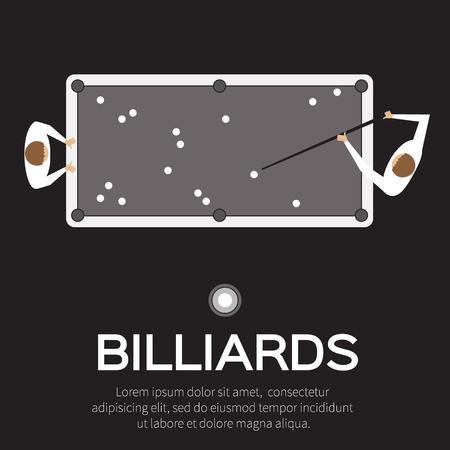bola de billar: Billar, piscina, juego del billar. Bolas triángulo, señal en la mesa. Hombre que juega al billar profesionales, piscina, billar - ilustración vectorial.