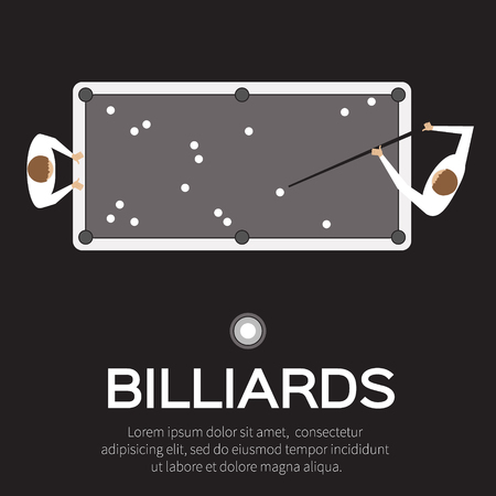 pool player: Billiards, pool, snooker game. Balls triangle, cue on table. Man playing professional billiards, pool, snooker - Vector illustration.