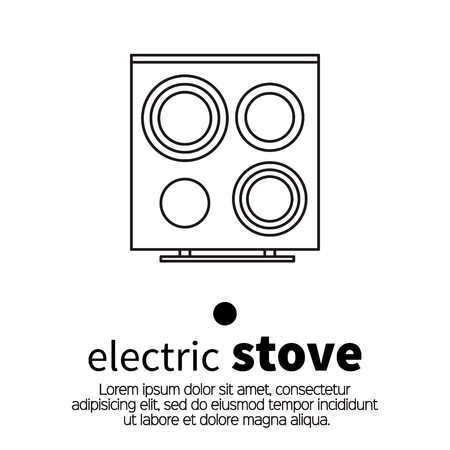 stove top: Top view surface for electric stove. Kitchen element. Vector illustration.