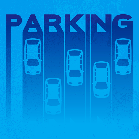 Colorful design style of signature – parking- on textured background. Top View Parking lot design Simple bright symbol - car. Many cars parked Template for your print or design on black background. Vector flat illustration