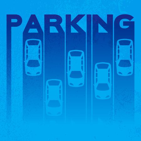 Kleurrijke stijl van ondertekening - parkeer- op gestructureerde achtergrond. Top View Parkeerplaats ontwerp Simple heldere symbool - auto. Veel auto's geparkeerd sjabloon voor uw drukwerk of ontwerp op een zwarte achtergrond. Vector flat illustratie