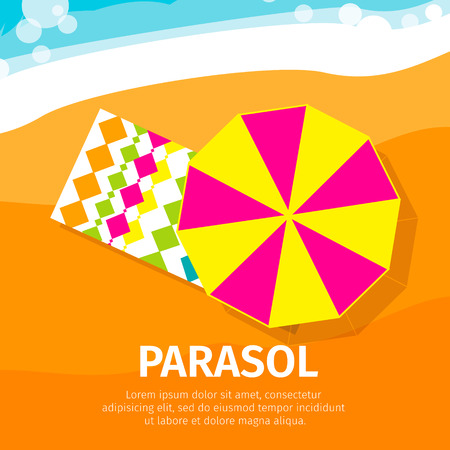 brolly: Sun umbrella – seasons parasol with beach towel. Vector Illustration.