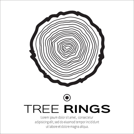 Tree rings background and saw cut tree trunk vector, forestry and sawmill. Wood texture. Vector illustration