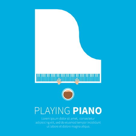 grand piano: Grand piano and chair. Music instrument. Vector illustration