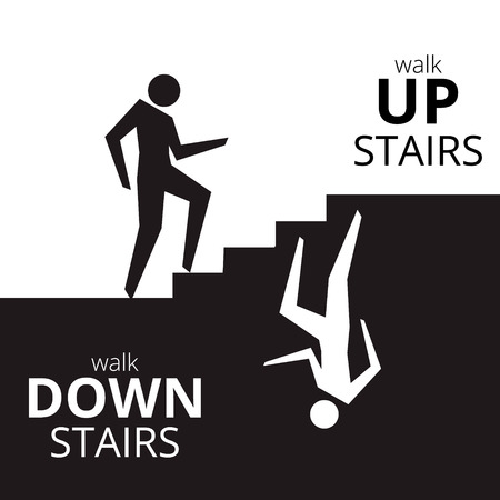 going down: Man going up the stairs , man going down staircase symbol. Vector illustration. Illustration