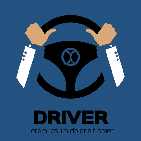 Driver design element with hands holding steering wheel. Vector illustration. Vectores