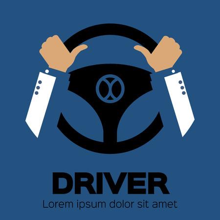 Driver design element with hands holding steering wheel. Vector illustration. Illustration