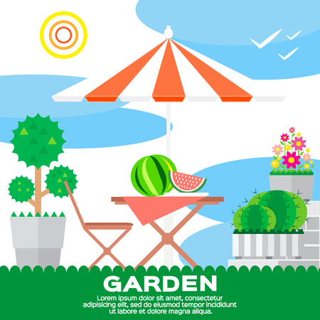 garden chair: Garden rural elements - tree, flowerbed, flowers, umbrella, chair, table, watermelon in vector flat style. Garden landscape – summer picnic. Ecology clean air.
