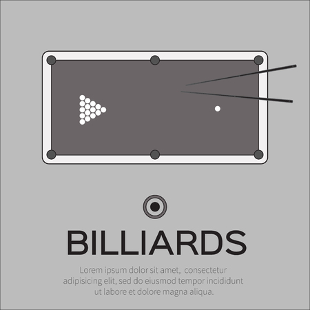 snooker cue: Billiards, pool, snooker game. Balls triangle, cue on table – Vector illustration.