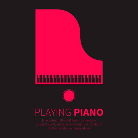 piano: Piano de cola y una silla. Instrumento musical. Ilustración vectorial