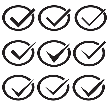 passed: Set of nine different vector check marks or ticks in circles conceptual of confirmation acceptance positive passed voting agreement true or completion of tasks on a list