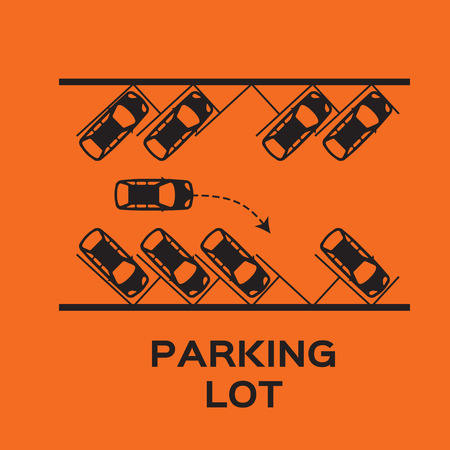parking lot: Top View Parking lot design. Many cars parked. Vector Illustration.