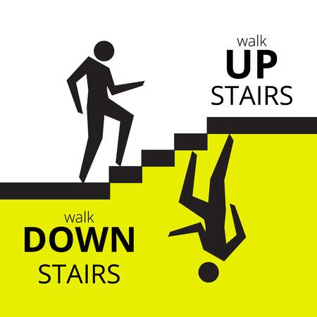 bajando escaleras: Hombre que sube las escaleras, el hombre bajando símbolo escalera. Ilustración del vector.