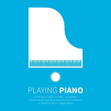 Vleugelpiano en een stoel. Muziekinstrument. Vector illustratie