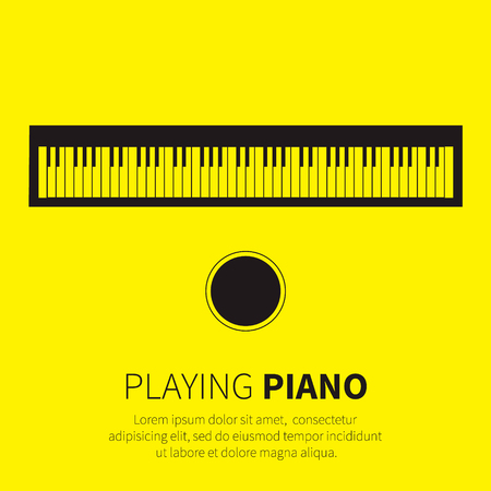 keyboard player: Piano and chair. Music instrument. Vector illustration