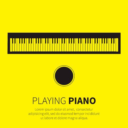 teclado de piano: Piano y una silla. Instrumento musical. Ilustración vectorial
