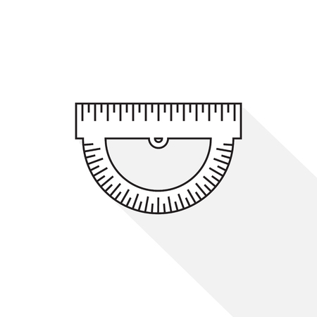 office supply: Ruler icon. Ruler symbol. Protractor. Office Supply Objects. Flat Vector illustration.