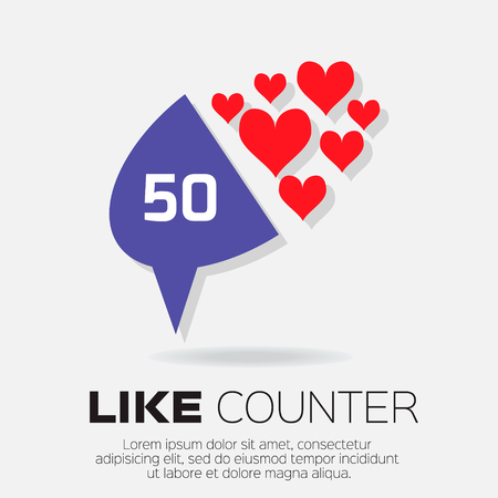 feedback link: Notification Icons. Like Counter Set. Love, like - Buttons with counter on ribbons and labels Network and communication, web and internet, design. Vector illustration
