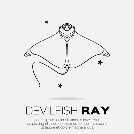 creatures: Devil fish ray. Vector silhouette of sea creatures.