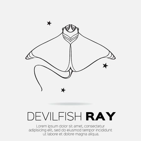 devil ray: Devil fish ray. Vector silhouette of sea creatures.